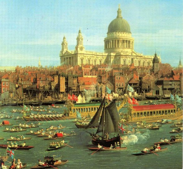 The River Thames with St. Paul's Cathedral on Lord Mayor's Day c.1747-48 Painted by:(Giovanni Antonio Canal) Canaletto